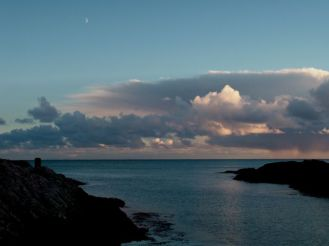 Moon rising over Scarinish Harbour
