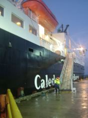 The gangway is manoeuvred