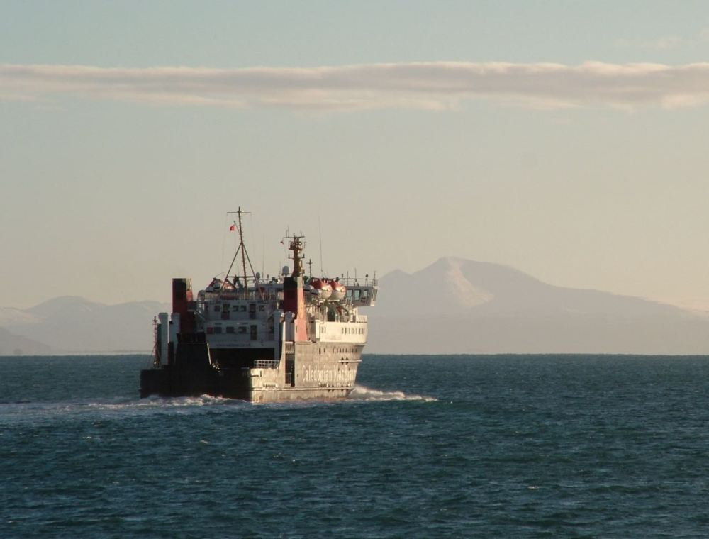 MV Lord of the Isles and the sunlit, snow capped Ben More (Mull) 19.01.2015