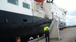 Gangway being hoisted