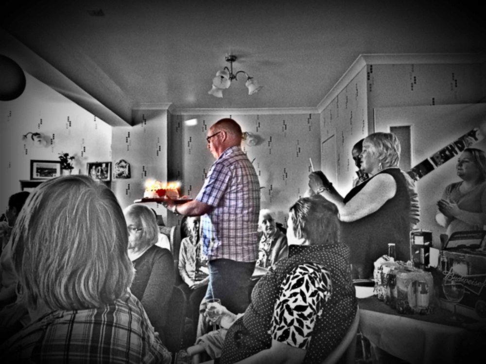 Photo of the birthday cake arriving