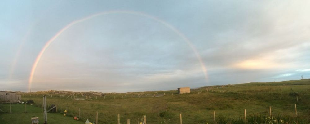 As the sun was setting a spectacular rainbow