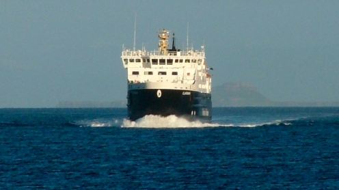 The MV Clansman with Dutchman's cap in background