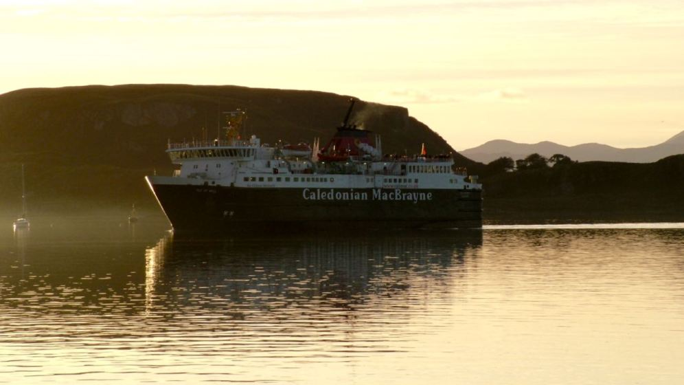 MV Isle of Mull in the setting sun