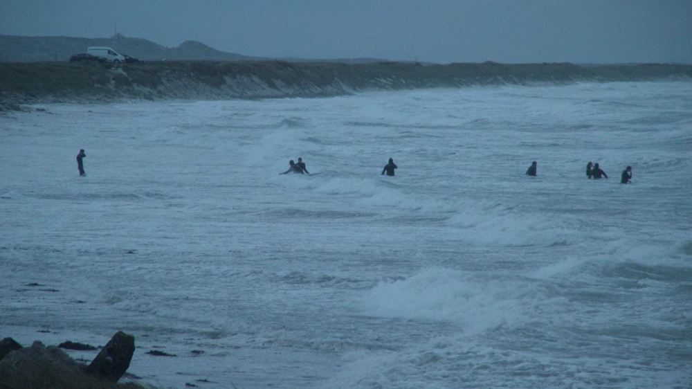 Doing battle with the wild surf