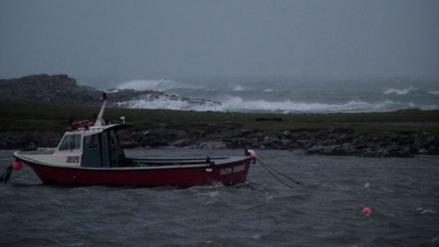 Choppy waters and wild waves at Scarinish Harbour