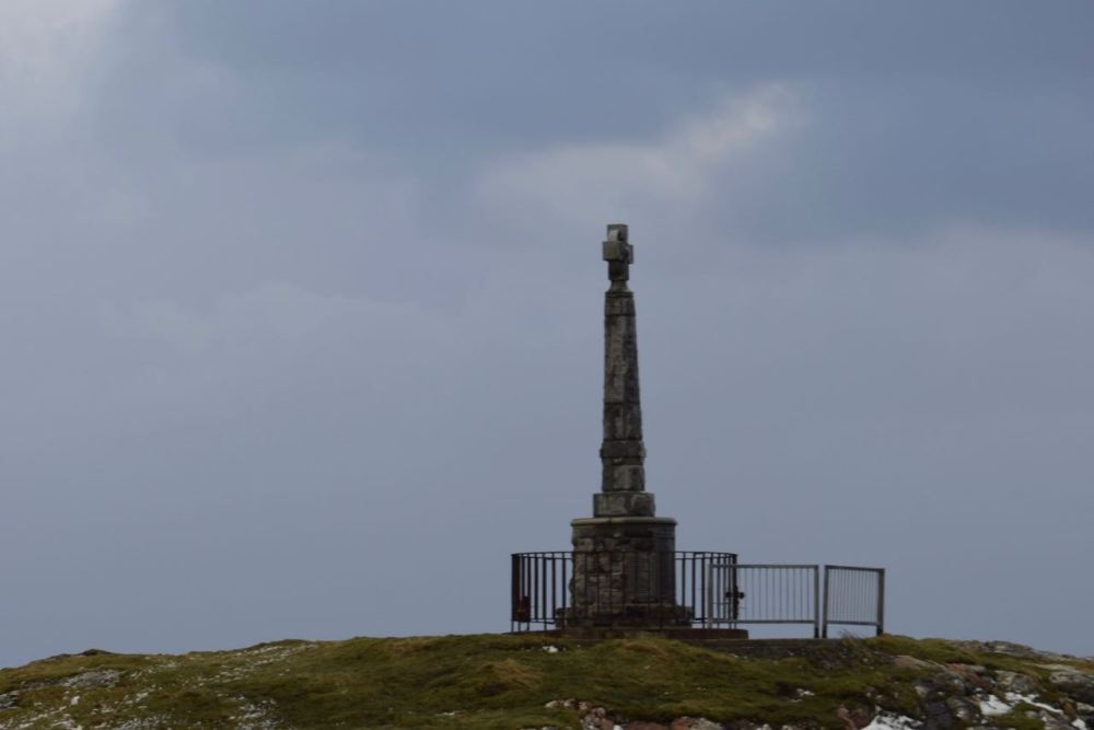 Storm clouds laden with hail over Tiree's memorial