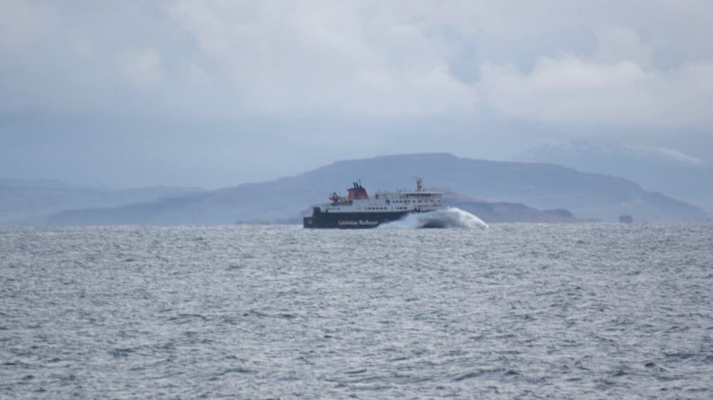 The MV Hebrides out in the Passage of Tiree.