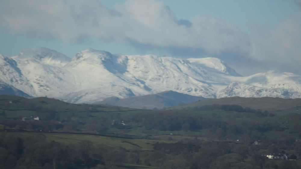 Snow Capped Peaks in the Lake District - from Train Window
