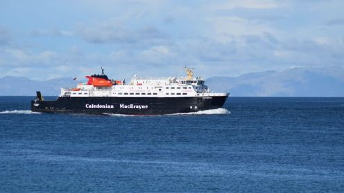 The Clansman with Rum in the background as she approaches the Gunna Sound