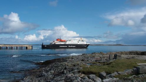 The Clansman departing Tiree on the Wednesday sailing to Barra