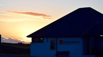 The sunsetting behind the CalMac Office