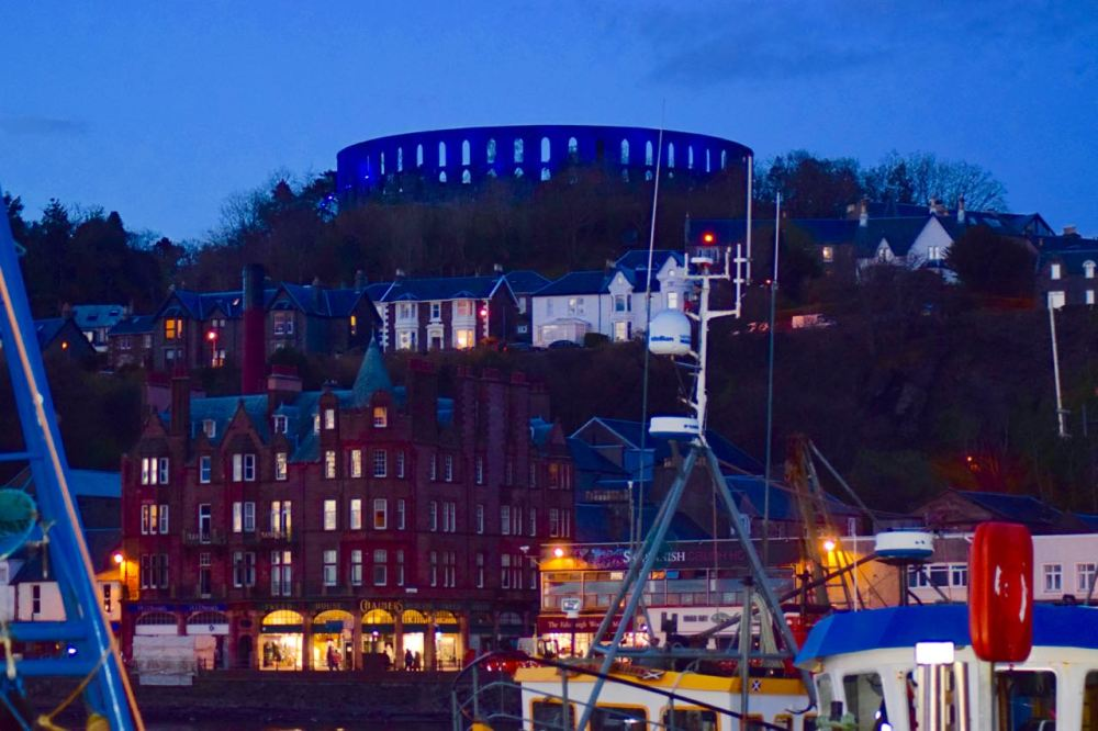 McCaig's Tower dominates the night time skyline.