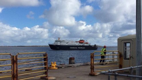 The MV Clansman approaches the pier