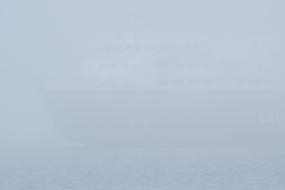 The MV Clansman barely visible.