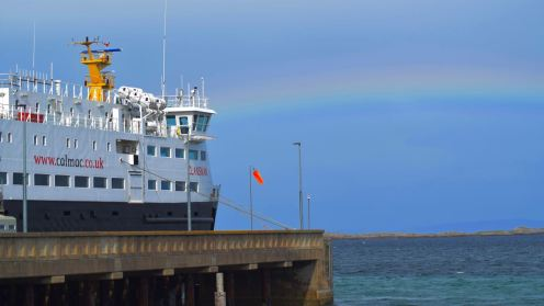 Rainbow framing the MV Clansman