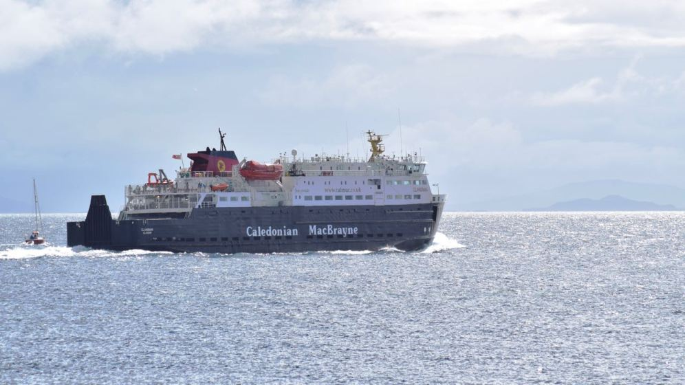 The Clansman powers past the yacht as it heads for Coll and Oban