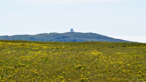 Over the Machair to Ben Hynish and the Golf Ball