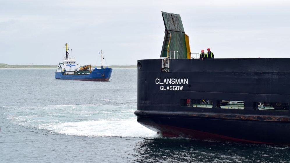 The MV Clansman and the MV Burhou as the Clansman berths.