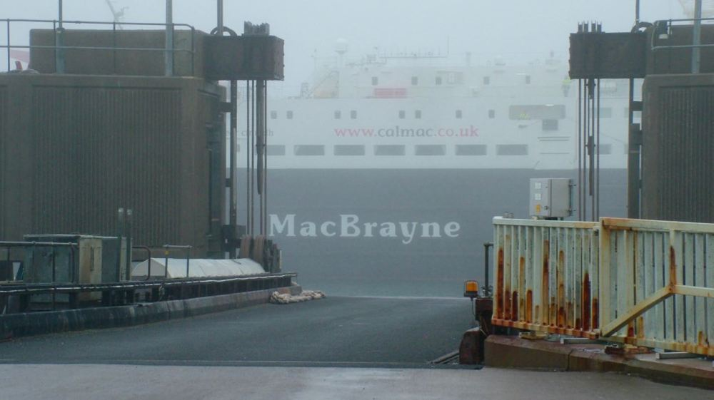 MV Clansman suddenly appears out of the haar