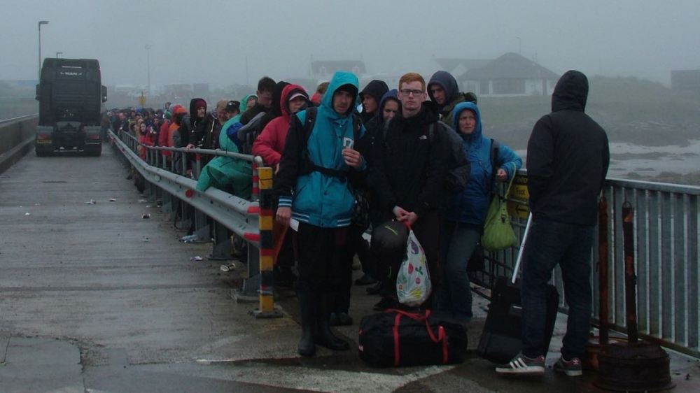 The long queue of disappointed ferry goers!
