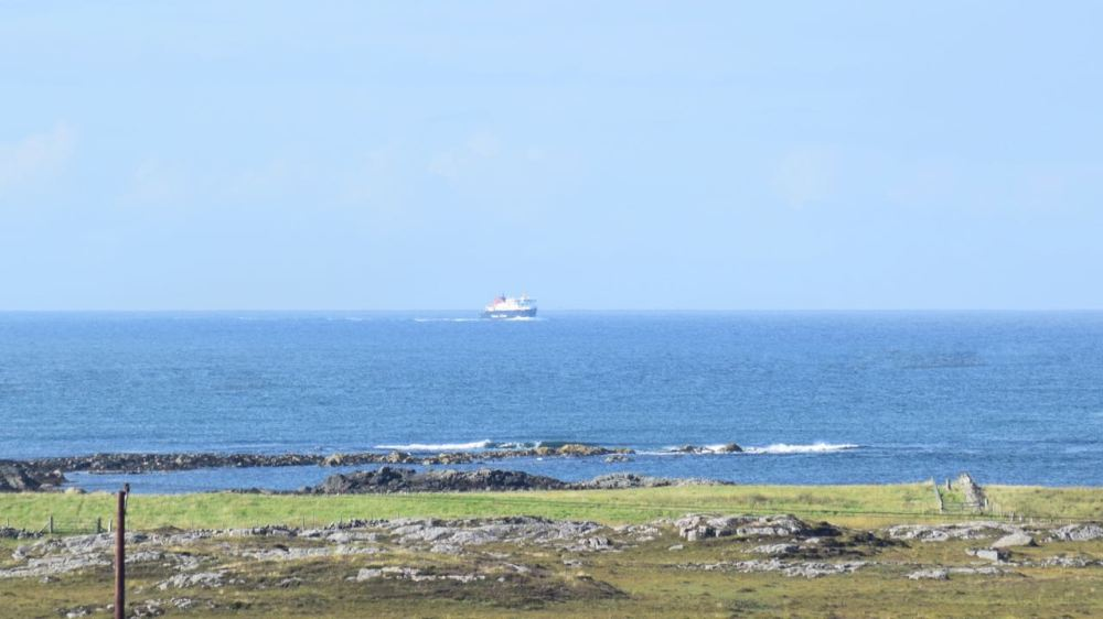 The MV Clansman in the Minch and approaching the Gunna Sound