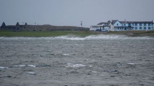 Spindrift in front of Tiree Lodge Hotel