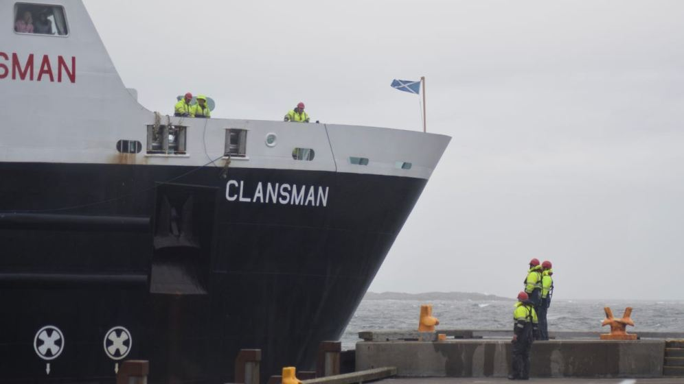 The MV Clansman comes across the roundhead