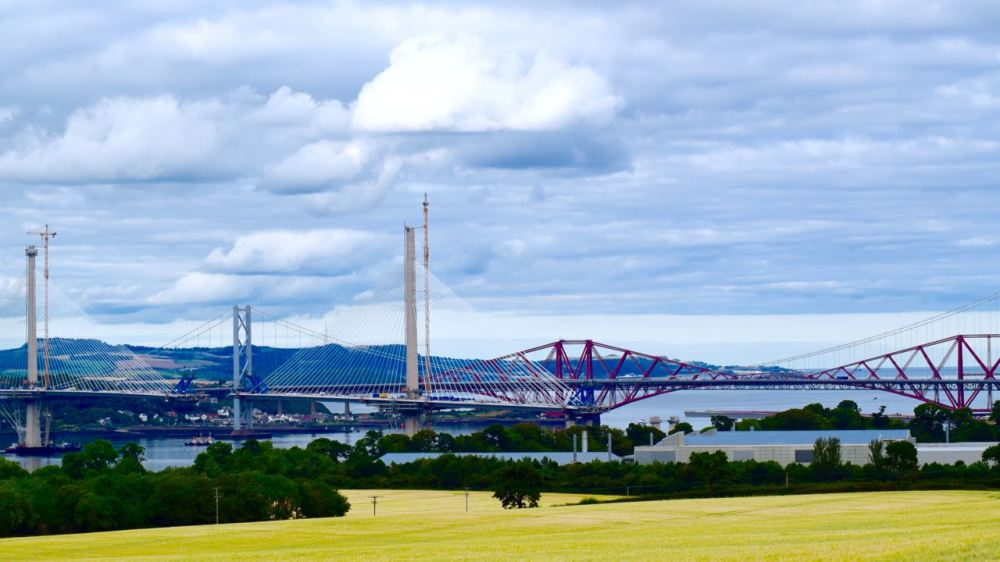 The three bridges spanning the Forth at Queensferry.
