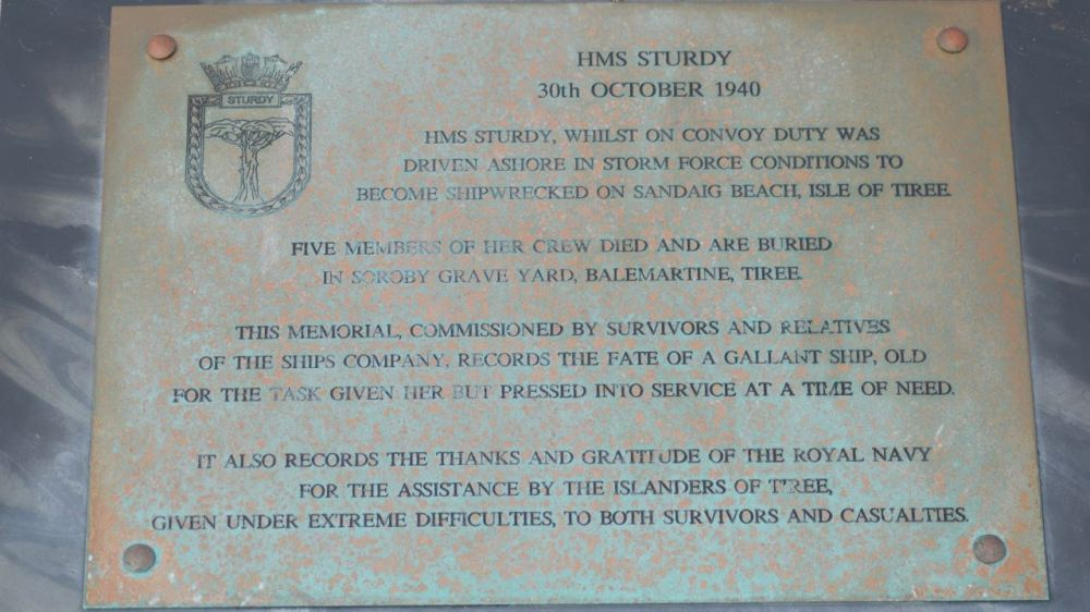 The plaque commemorating the loss of HMS Sturdy