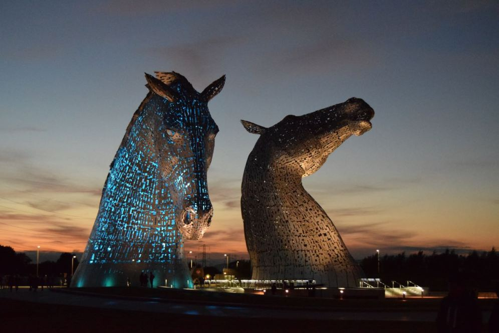 The kelpies at sunset