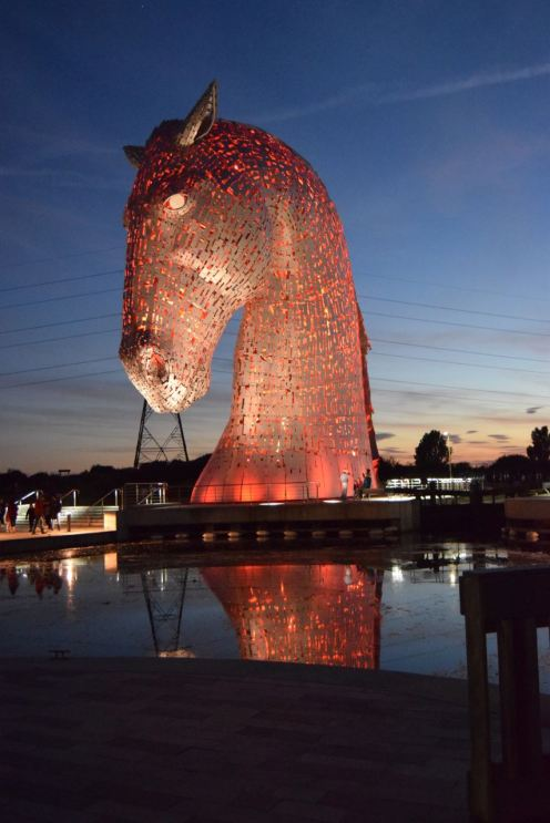 The Kelpies changing colour