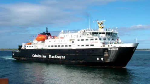 The MV Clansman preparing to berth