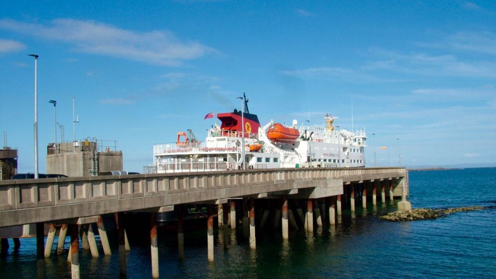 The MV Clansman at the Pier, Gott Bay