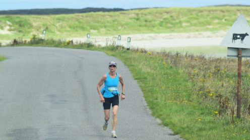 With Crossapol beach behind a sprint to the finish