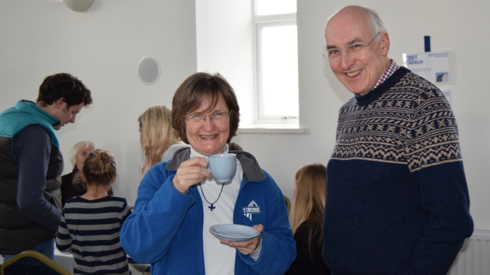 Elspeth enjoying a cuppa at the Baptist premises at Baugh