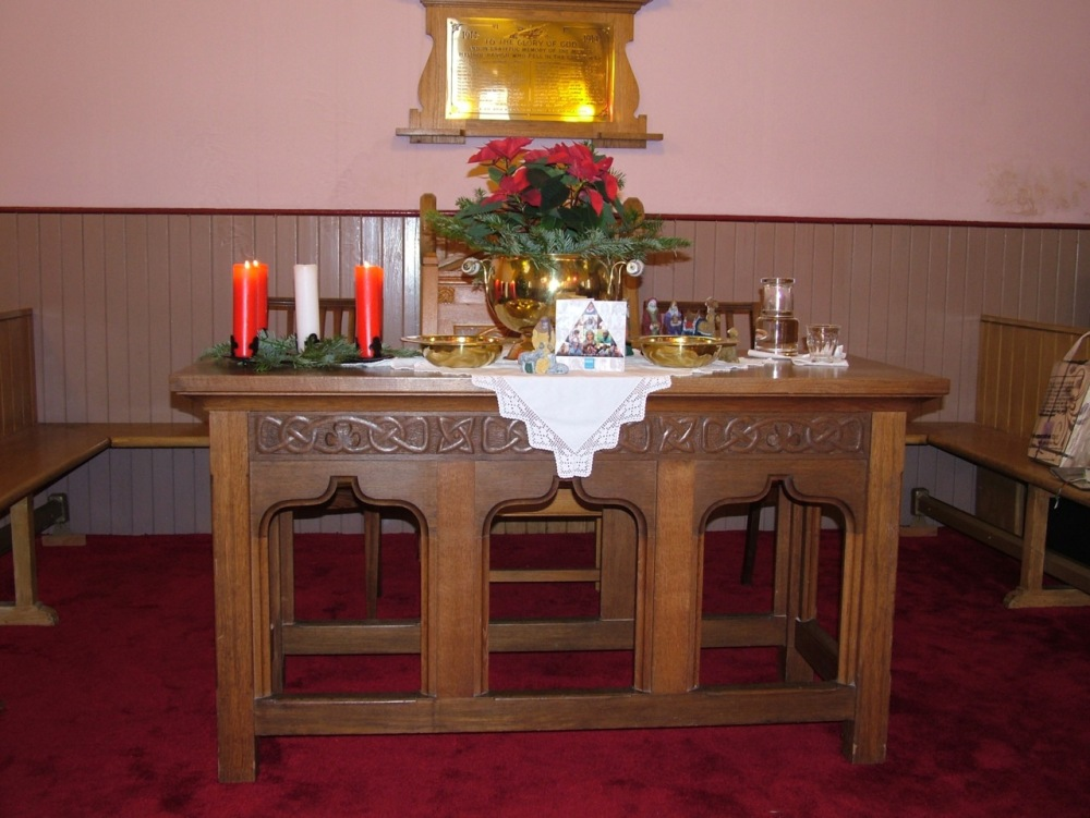 The Communion Table at Heylipol at Christmas