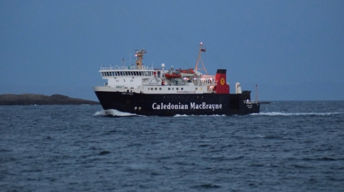 The MV Lord of the Isles approaching Tiree's pier.