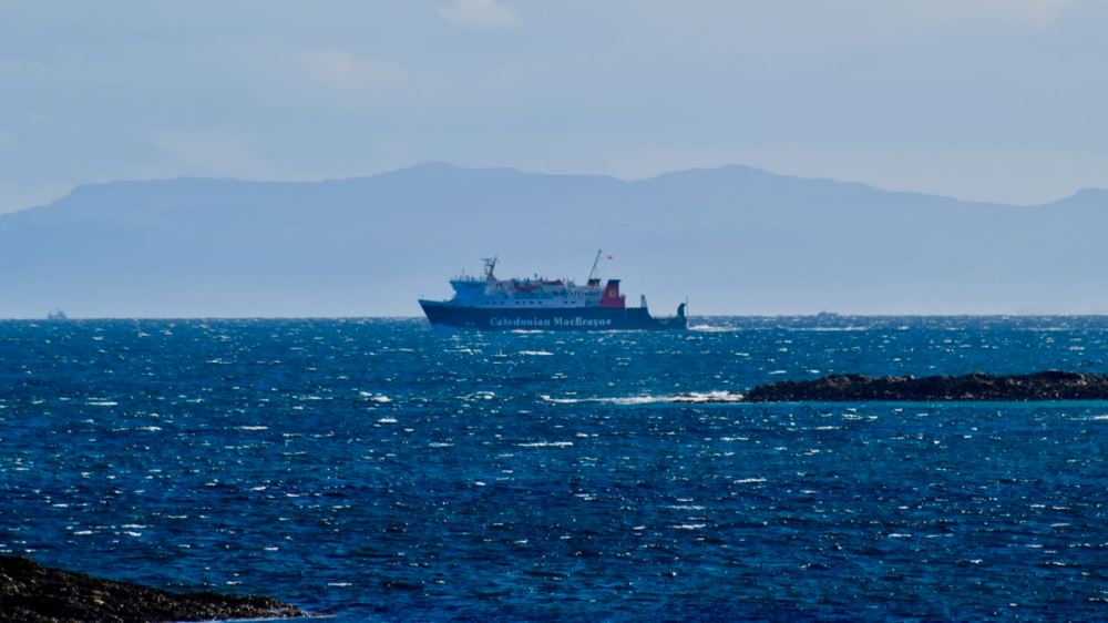 The MV Lord of the Isles in the Passage of Tiree just before entering the Gunna Sound