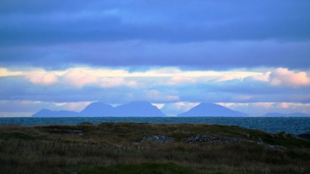 Looking south towards the Paps of Jura at sunset