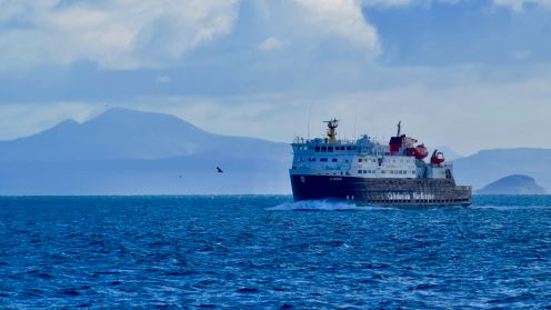 The MV Clansman in the waters of Gott Bay - Mull in the background