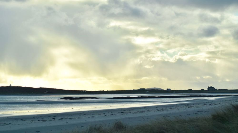 The sands of Gott Bay washed by a wintry sun