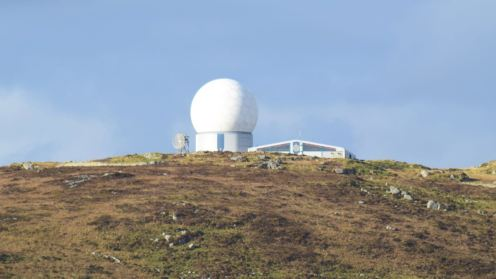 The Radar Station on Ben Hynish from the footpath