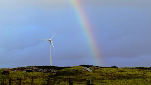 Tilley the Turbine with rainbow