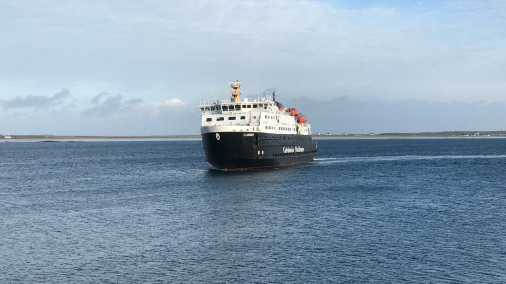 MV Clansman preparing to berth