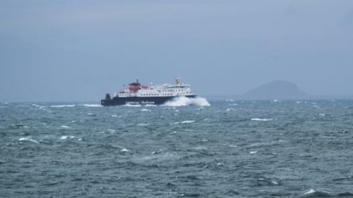 The MV Clansman out in the Passage of Tiree