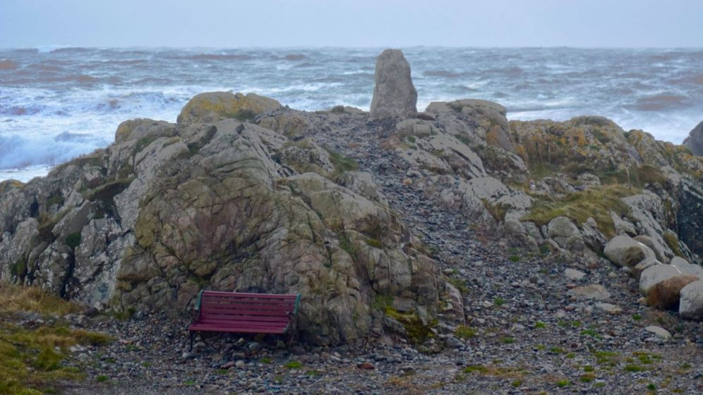 A sheltered seat at West Hynish