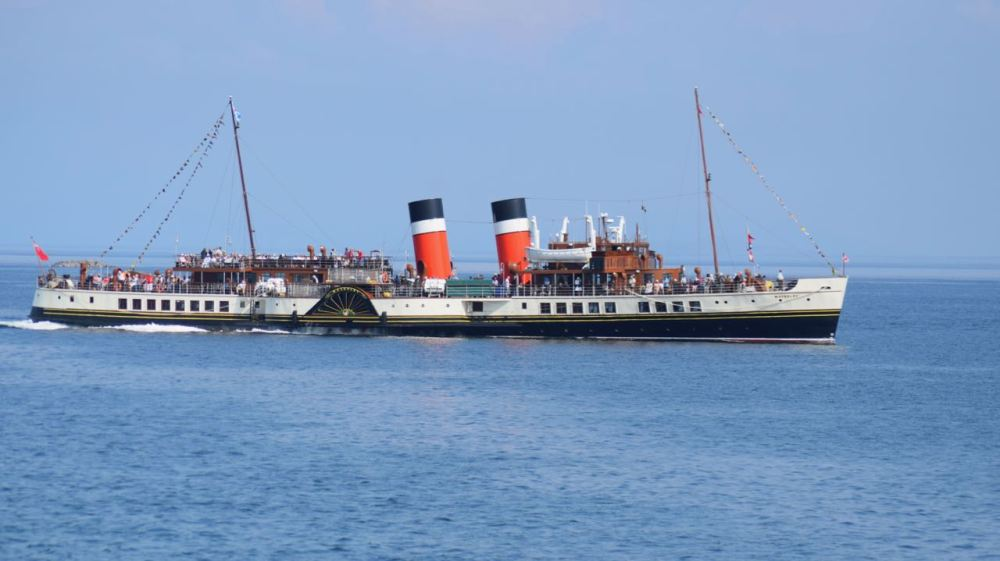 The PS Waverley departing Gott Bay, Tiree