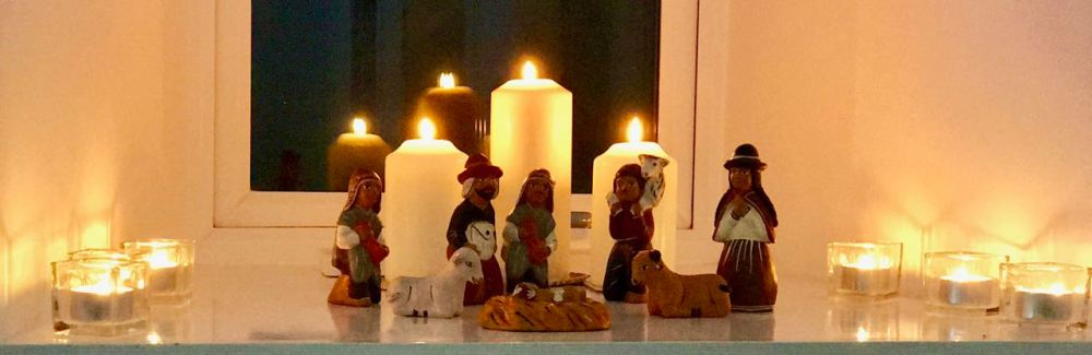 Candle lit Peruvian Nativity Scene at the Baptist Church in Baugh