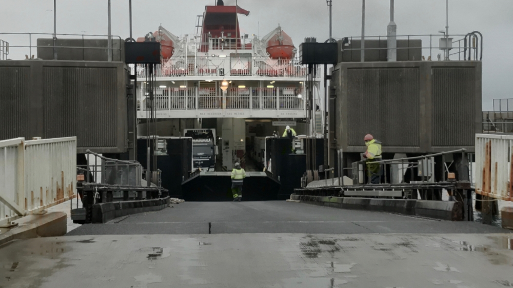 The stern ramp being lowered